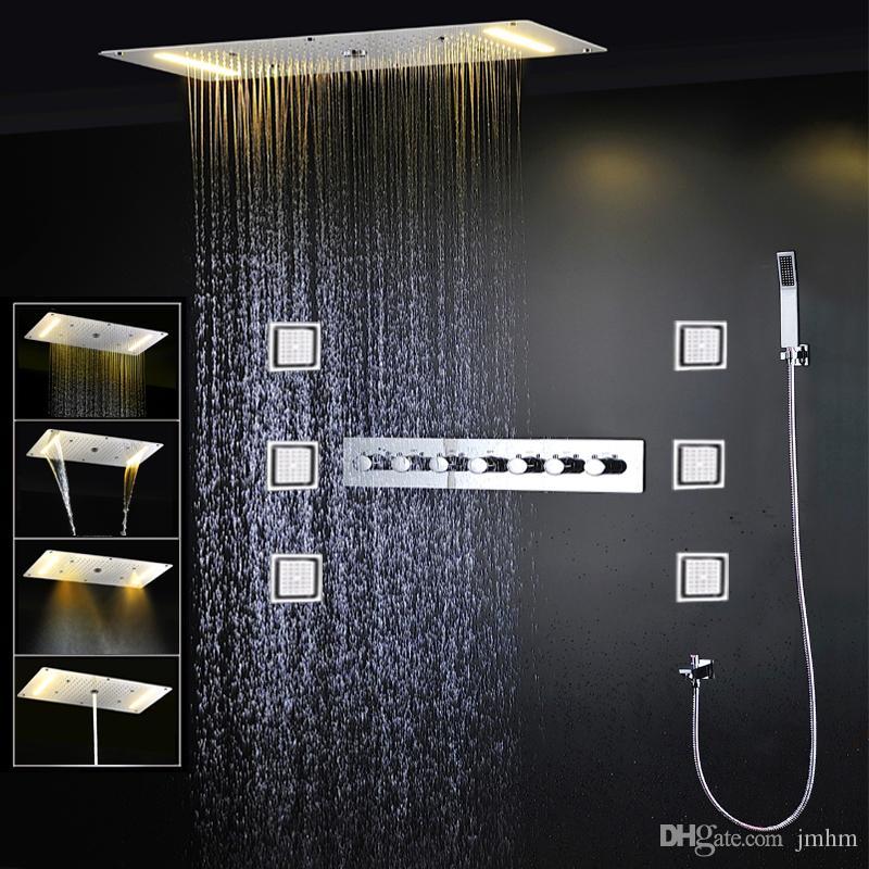 Set doccia a soffitto moderno Set di lusso LED Cascata a pioggia Soffione doccia Rubinetti termostatici 380x700mm Miscelatore doccia con getto corpo da 4 ''