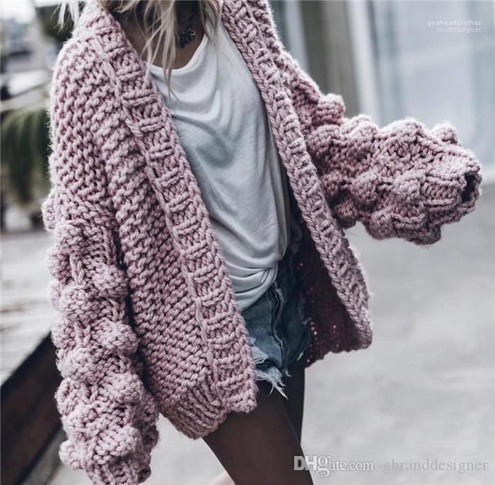 Manica lunga tessuto mano lanterna manica solido di colore maglione della molla progettista delle donne maglione cardigan di moda