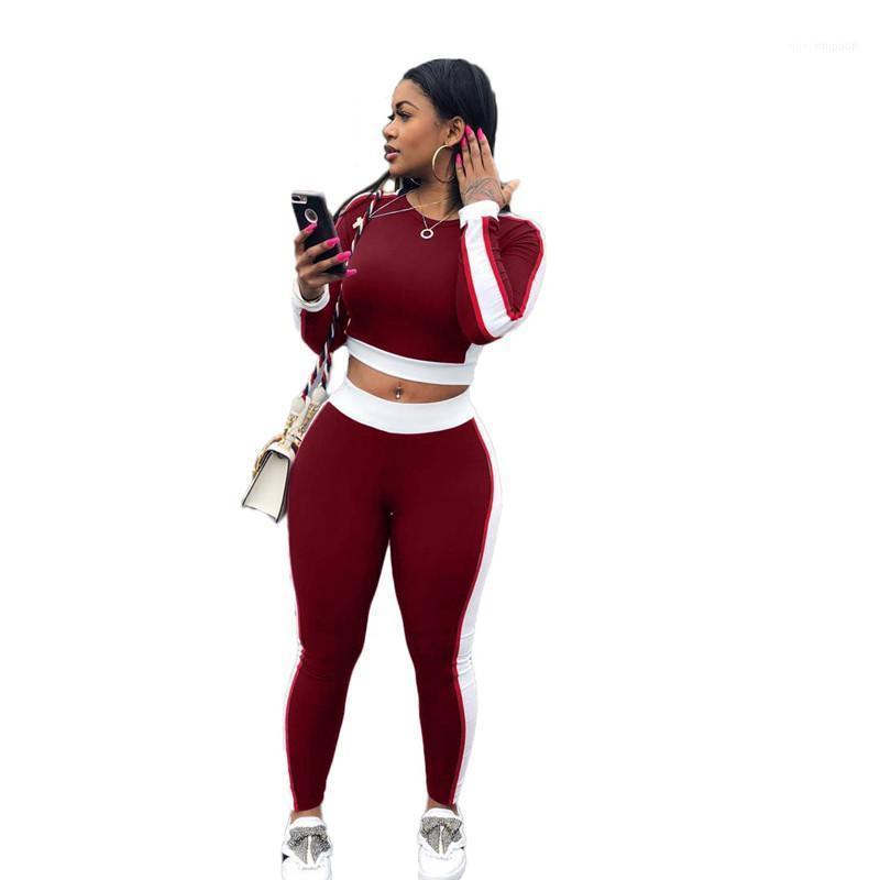 Trajes Running Mujer señoras Conjuntos casuales mujeres atractivas del color del remiendo chándales flaco O Cuello de manga larga 2PCS Deportes