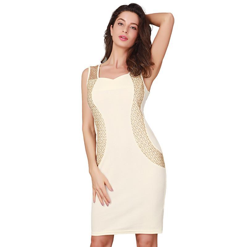 2019 Nouvelle Mode Printemps Été Femmes Solide Patchwork Slim Pack Hanche Sexy Robe Sans Manches Élégant Grande Taille Robe Robe Robes Robes
