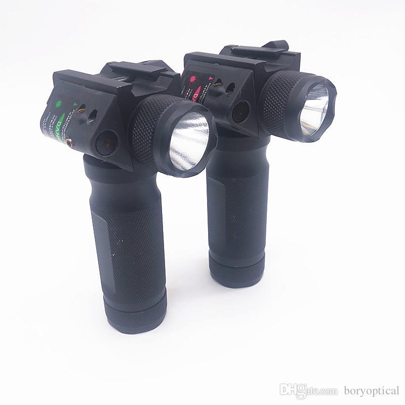 مصباح يدوي مضغوط و منظار ليزر مجموعة 2 في واحد صيد تكتيكي أحمر / أخضر مشهد ليزر إطلاق مصباح يدوي سريع