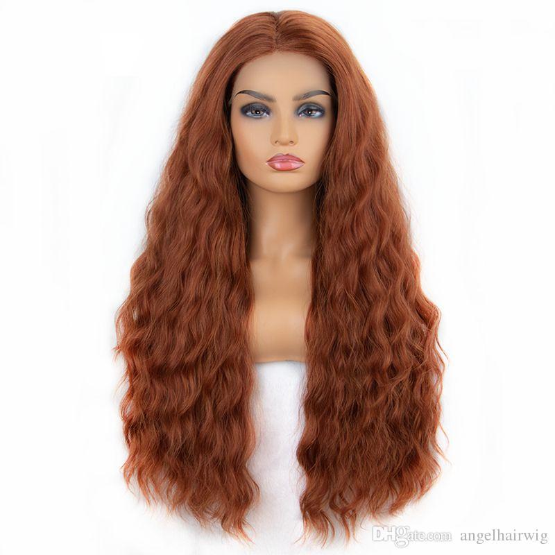 Kadınlar İçin Uzun Dalgalı Elyaf Saç Dantel Açık Peruk Orta Kısım Bakır Kırmızısı Turuncu Gevşek Dalgalı Isıya Dayanıklı Sentetik Peruk