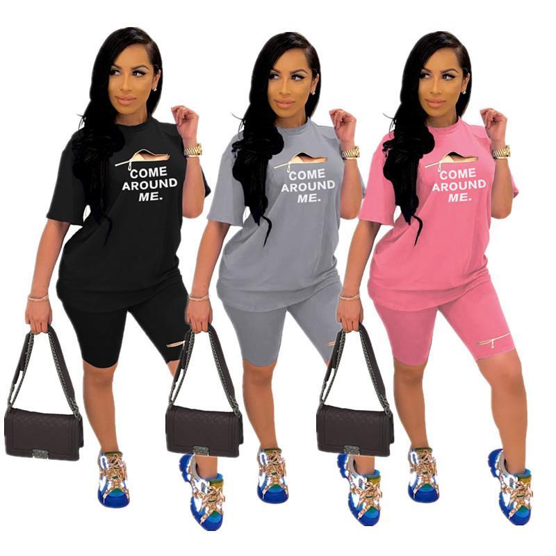 Женщины Zipper Шорты Tracksuit письмо Версия для печати с коротким рукавом футболки Топы + шорты 2 шт Набор летних женщин Мода Костюмы Спортивная 3 Цвет