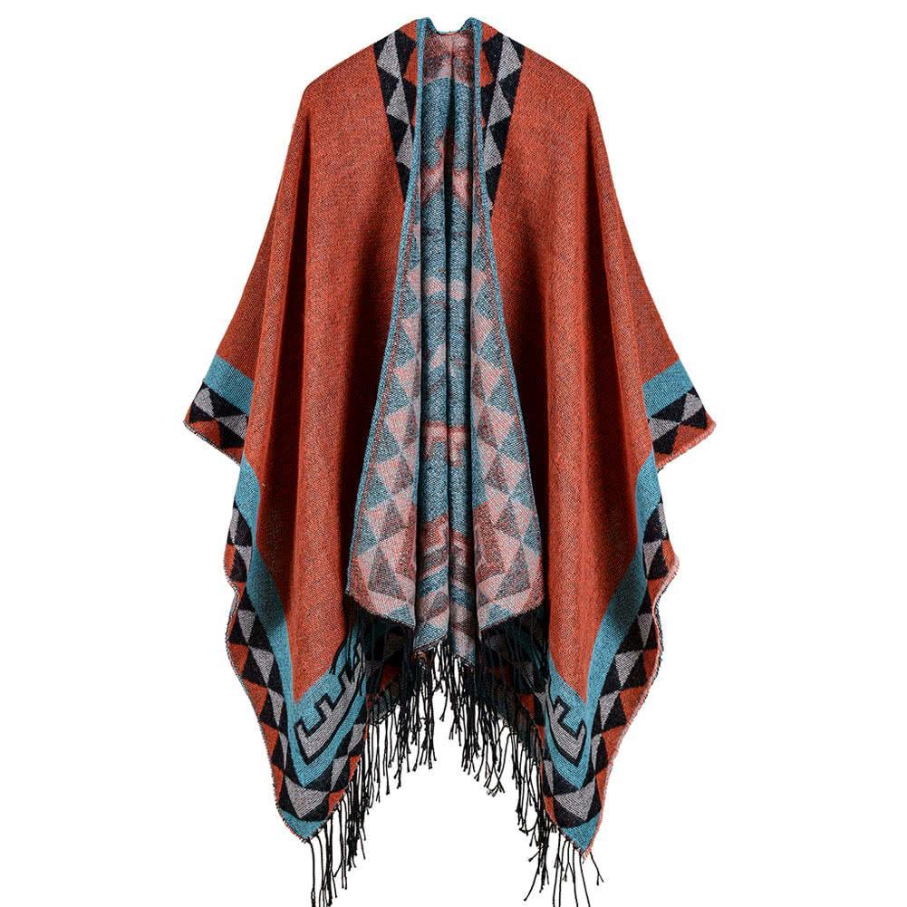 Boho Women Knitted Shawl Poncho Faux Cashmere Geometric Pattern Tassel Oversized Warm Long Tassels