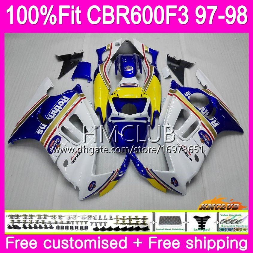 Injection For HONDA CBR600RR CBR600FS CBR 600 F3 97 98 Rothmans Blue 78HM.20 CBR600 F3 FS CBR 600F3 CBR600F3 1997 1998 OEM 100%Fit Fairing