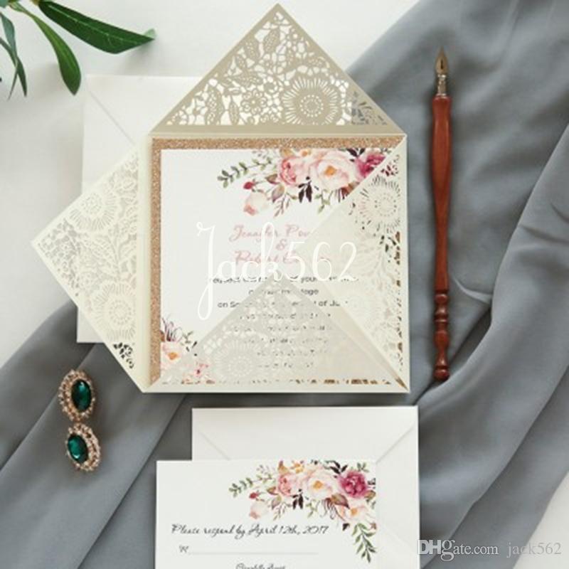 아이보리 블루 화이트 레드 골드 퍼플 포켓 레이저 컷 결혼식 초대 카드와 RSVP 카드 개인화 비즈니스 파티 장식 24 색