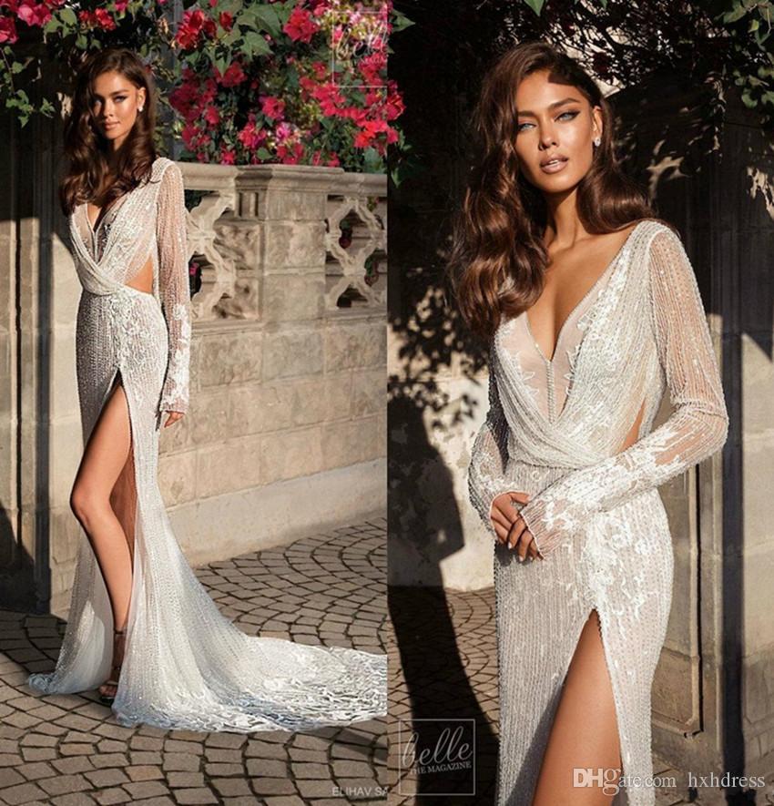 Elihav Sasson Mermaid Wedding Dresses Thigh High Split V Neck Lace Beads Long Sleeve Beach Wedding Dress Sexy Boho Bridal Gowns Plus Size 44