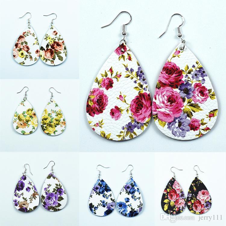 6 Arten Rosen-Blume PU-Ohrring Lychee Muster Wassertropfen Ohrringe Schmuck für Frauen Mädchen brithday Weihnachtsgeschenk Großhandel JY857