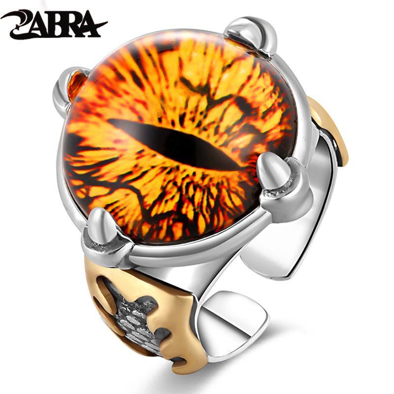 Zabra 925 الفضة للتعديل الأصفر زركون خاتم الرجال خمر حجر كبير الشرير خواتم للنساء مجوهرات فضة أنثى C18122501
