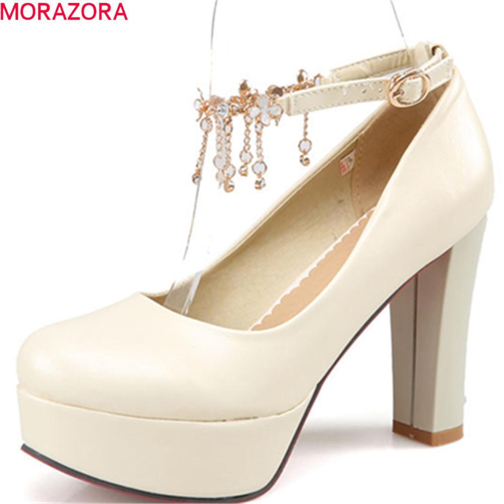 MORAZORA extremas saltos altos 2020 bombas de sapatos de mulheres com sapatos de plataforma fivela salto quadrado mulheres rodada toe sapatos rasos