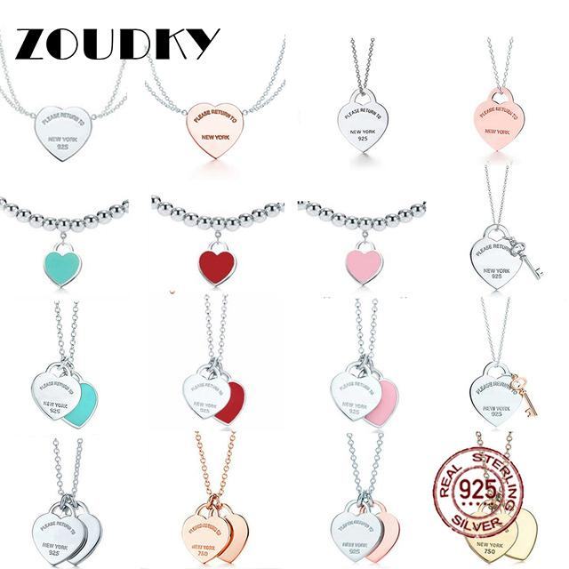 NUEVO 100% 925 cadena de plata esterlina TIF del collar del corazón del grano de oro rosa y oro de lujo para las mujeres joyería original regalo de la manera