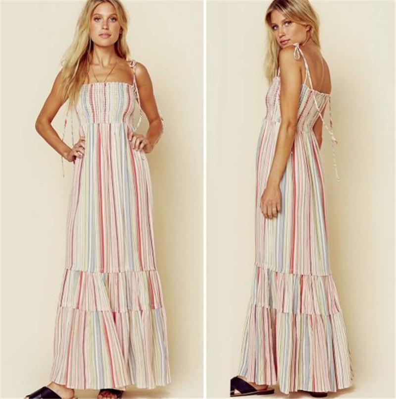 Vestidos de férias Casual Designer Womens verão vestidos florais impressos mulheres Bohemian moda vestidos Spaghetti Strap Praia