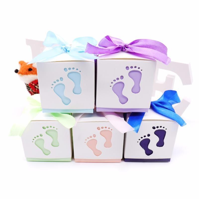 10pcs Bebek Bebek Ayak Şeker Kutusu Lazer Boy Kız Doğum Parti İçin Duş Favor Hediye Şeker Kutusu Hediye Kutuları Cut-out