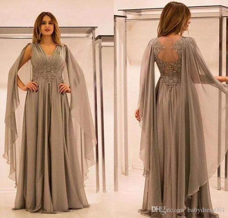 2019 Elegant Elegant Mousseline Illusion Back Mère des robes de la mariée avec des perles appliques de dentelle Ruched V Col Mother Groom Robe Plus