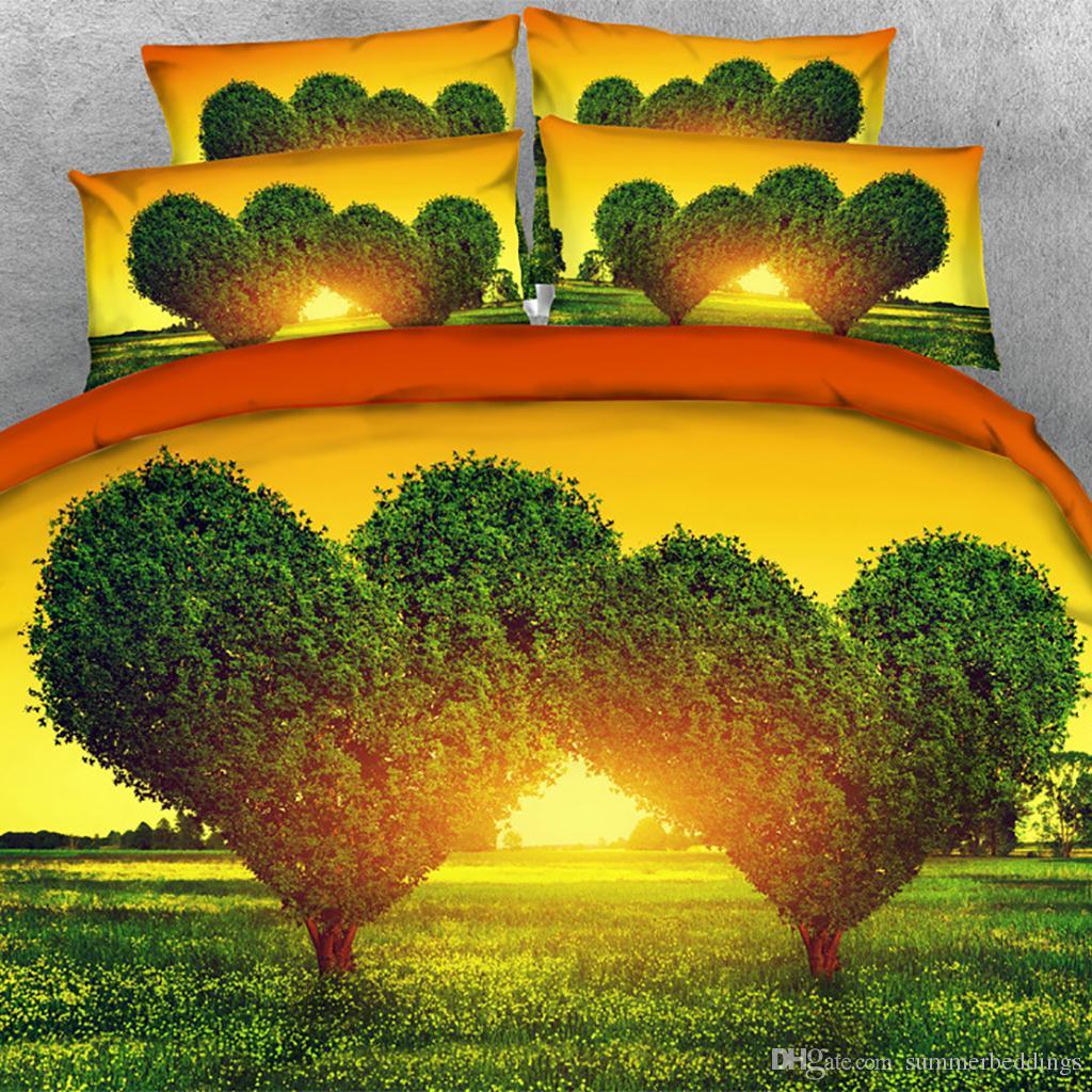3PCS 3D Sunset amour arbre Imprimer housse de couette Literie avec taie, Couette Microfibre Couverture, fermeture à glissière, Consolateur NO
