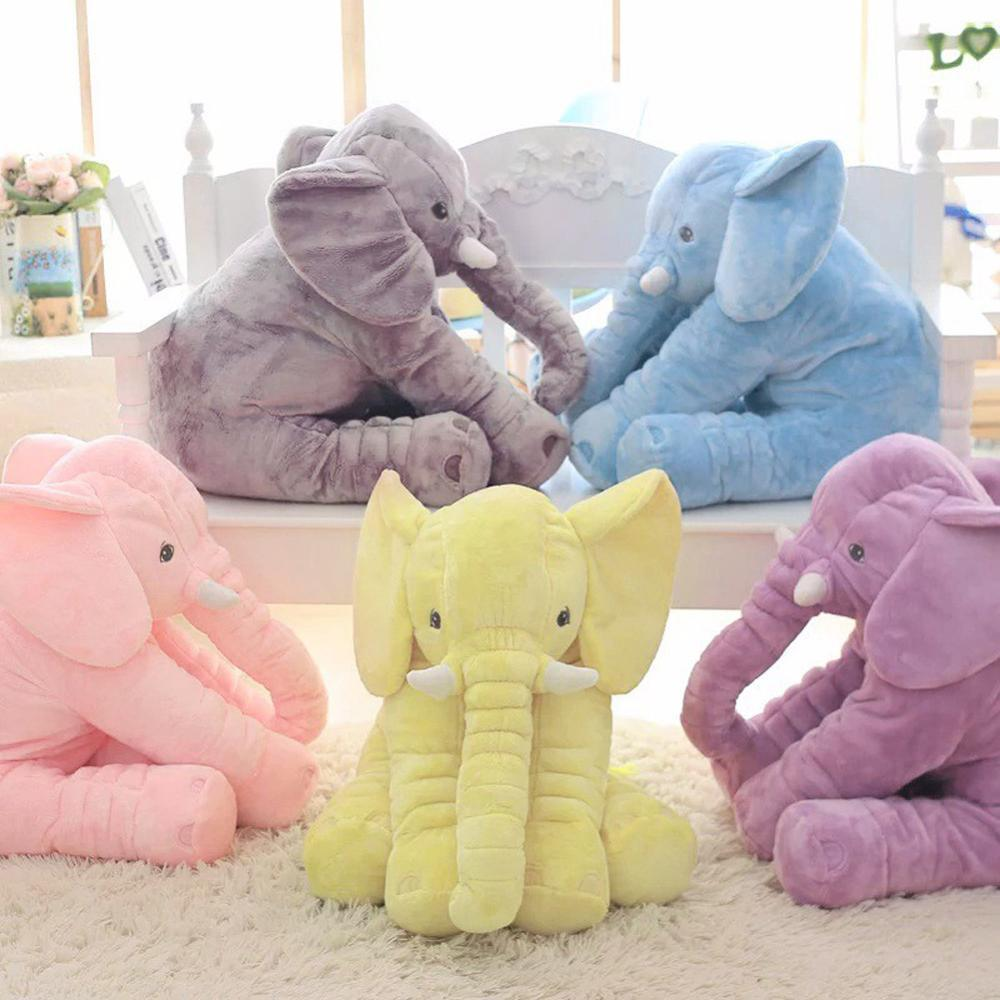 40/60 centímetros Altura de pelúcia elefante boneca de brinquedo crianças dormindo Voltar Almofada bonito Stuffed Baby Elephant Acompanhe boneca Xmas presente Y200111