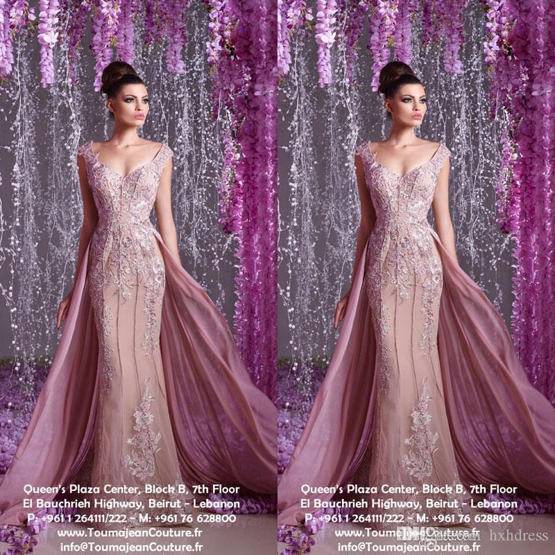 Nuevos vestidos de noche árabes Hanna Toumajean, apliques de encaje, perlas, vestidos de fiesta de sirena con vestido de fiesta sin mangas con cuello redondo y escote desmontable