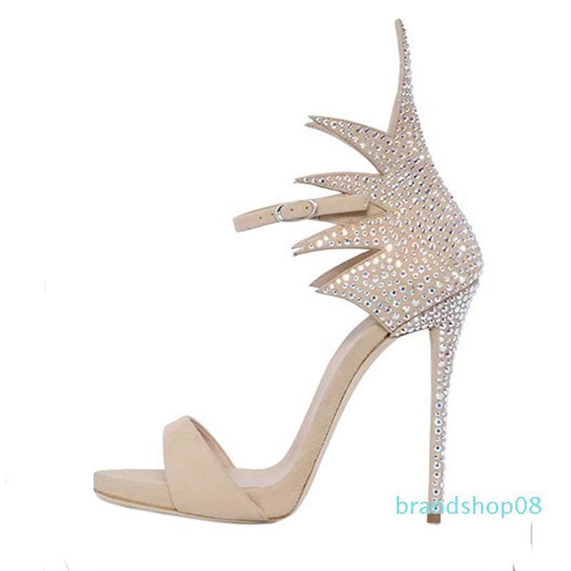 Goddess2019 Parola Uno Buckle Portare le dita dei piedi con strass bene con Metri bianco sexy donna Sandali temperamento Banquet