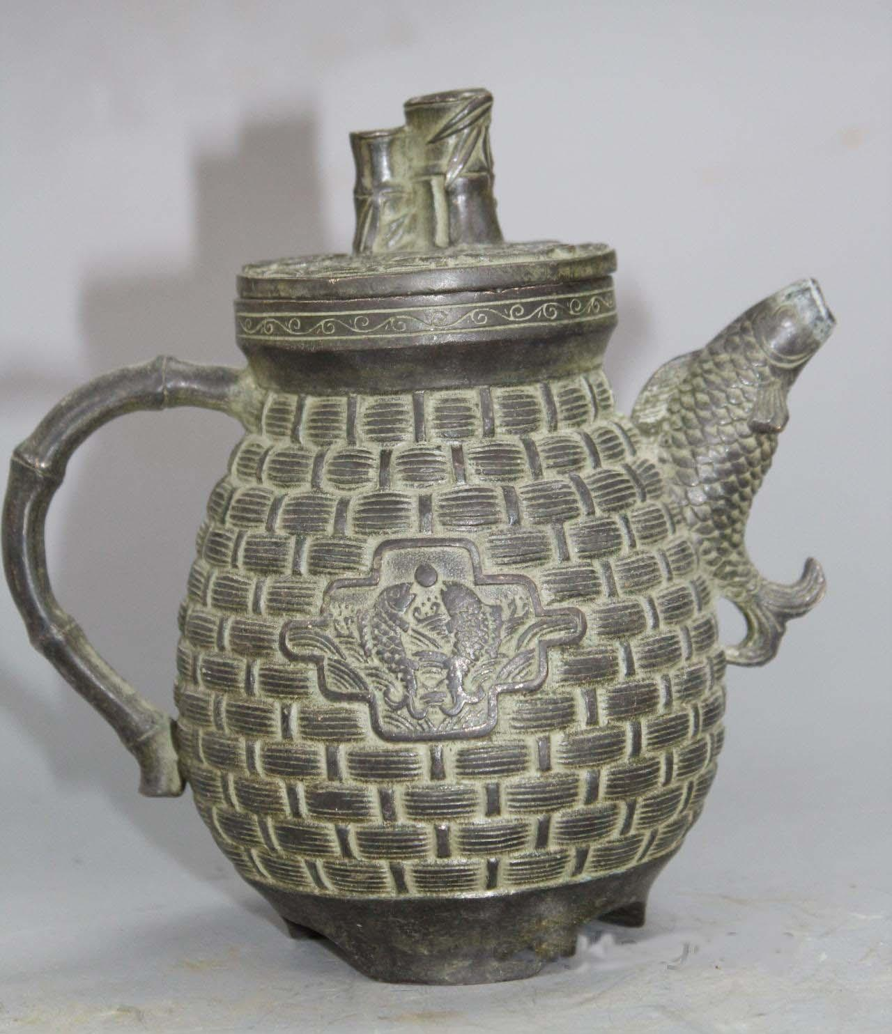 "6 ""old bronze markers bat fish bamboo handle teapot flagon of wine"