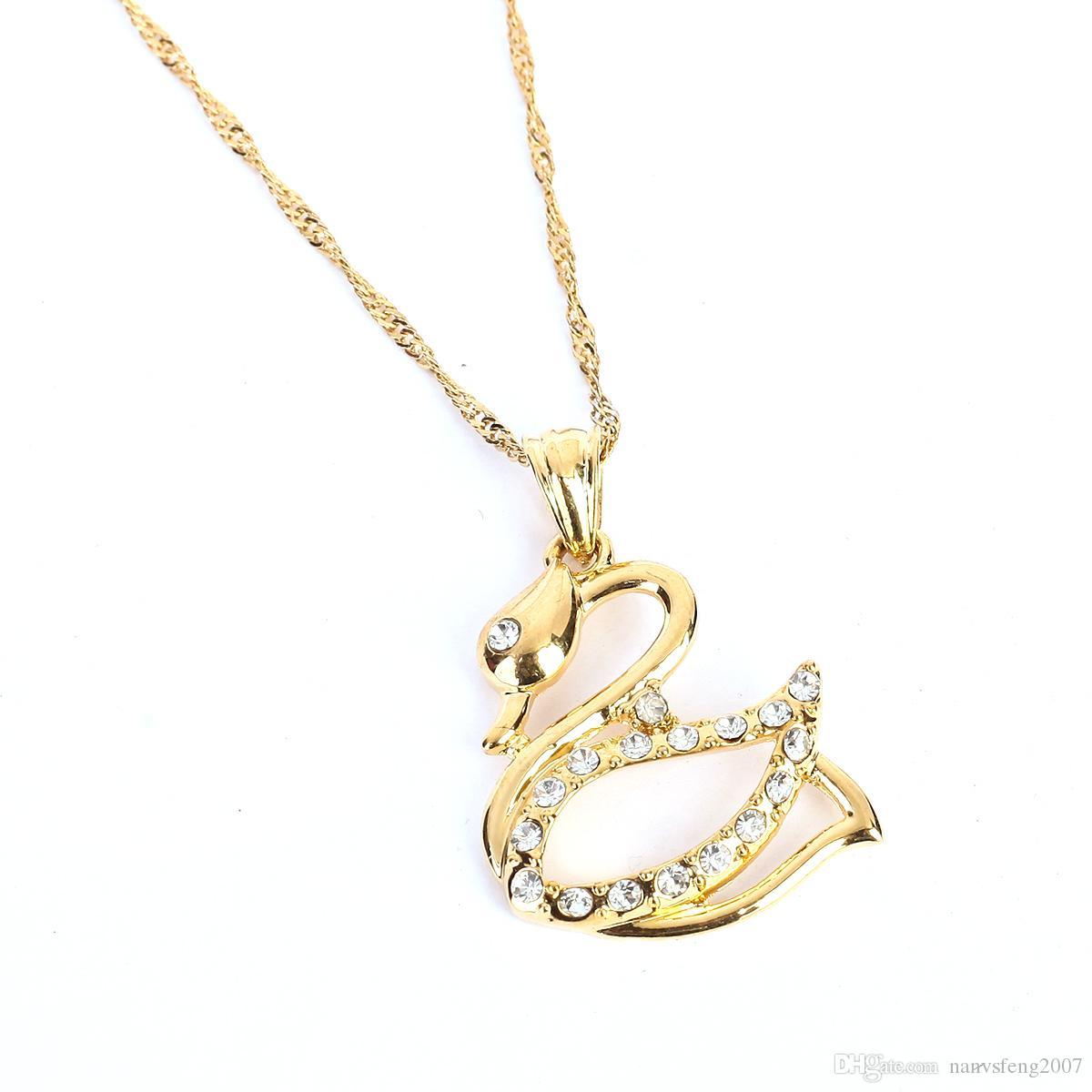 Venta caliente Promoción Cubic Zircon Sweety Swan Collar Colgante Joyería de Calidad Superior de Color Oro Collar Animal