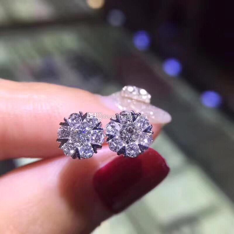 Изысканные ювелирные изделия 18k Твердых алмазов из белого золота Шесть окружают один алмаз сердца снежинки шпильки ювелирные изделий с бриллиантами для женщин серьги wholesald