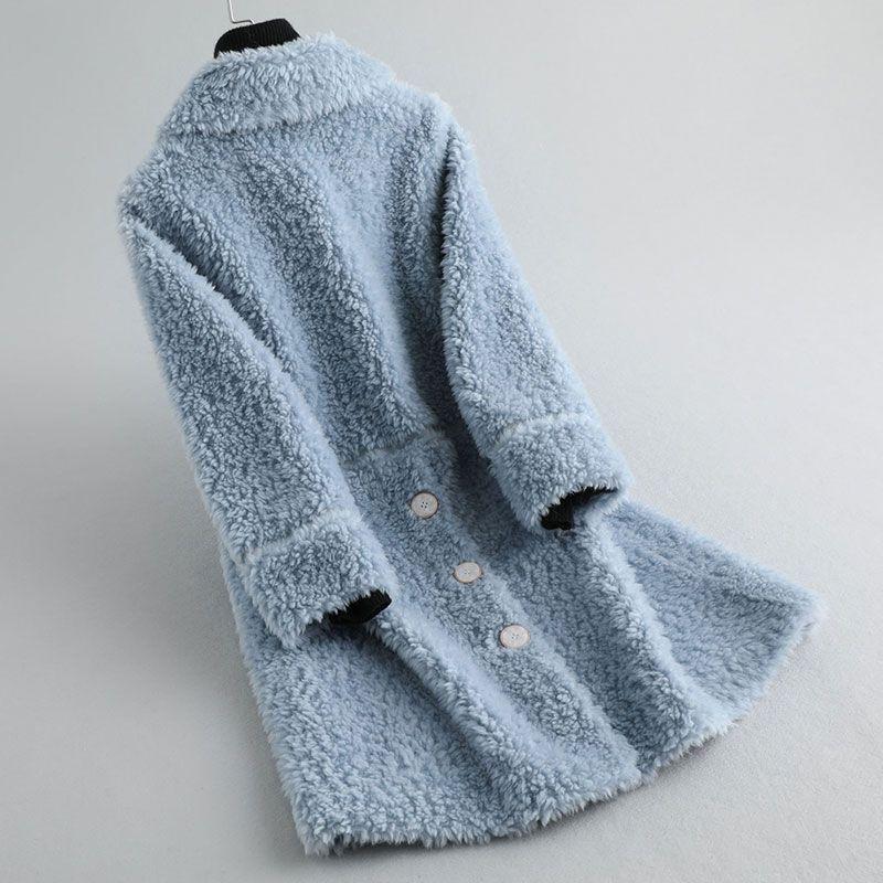 Manteau de fourrure véritable Winte Femmes 2020 200% Veste en laine longue coréenne vêtements vintage Kurtki Damskie Zimowe KQN22064 KJ4447