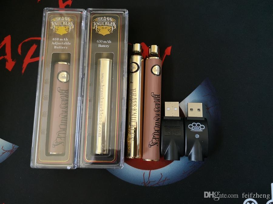 BK Brass Knuckles Voltaje ajustable Batería Vape Pluma 650mAh 900mAh Baterías Oro Precalentamiento de madera Baterías para cartuchos de aceite gruesos