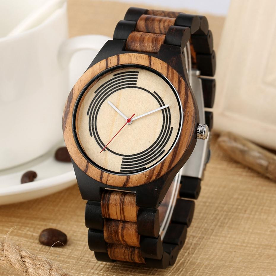 Ebony Wood Spiral Stripe Watch Clock Male Men's Unique Geometry Design Quartz Watch Male Watches Full Wooden Band Bangle Watches