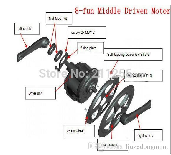 Bafang / 8fun Mid Central Drive, 48v 750w BBS02 Neueste Motor Controller Kurbel, ebike Electric Bike Conversion Kits Trike