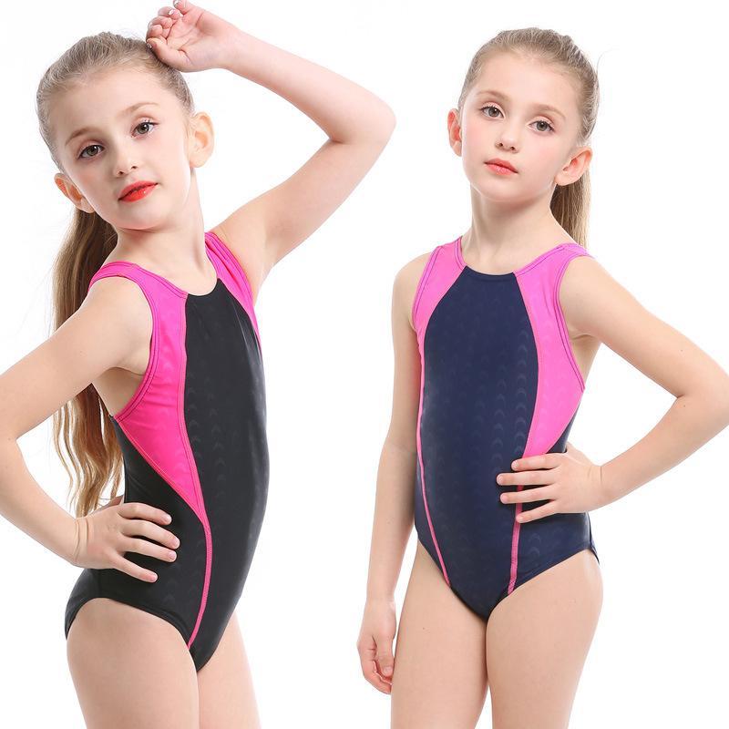 Sıkı Kız Çocuklar Tek Parça Profesyonel mayolar Bebek Su Sport Elastik Yıkanma Yarışı Rekabet Plaj Giyim Swim Suit