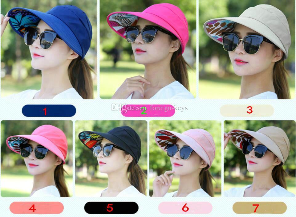 2018 Excelente Novo chapéu de lazer das mulheres de verão, dobrável sol-prova chapéu de sol e sol-shading cap Frete grátis 5 pçs / lote