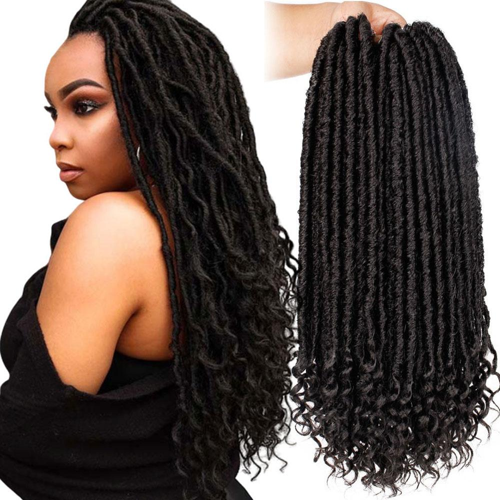 16/20 Inch Faux Locs Crochet Braids Natural Soft Synthetic Hair Extension 24 Stands/Pack Goddess Locks Ombre Synthetic Braiding Hair Braided
