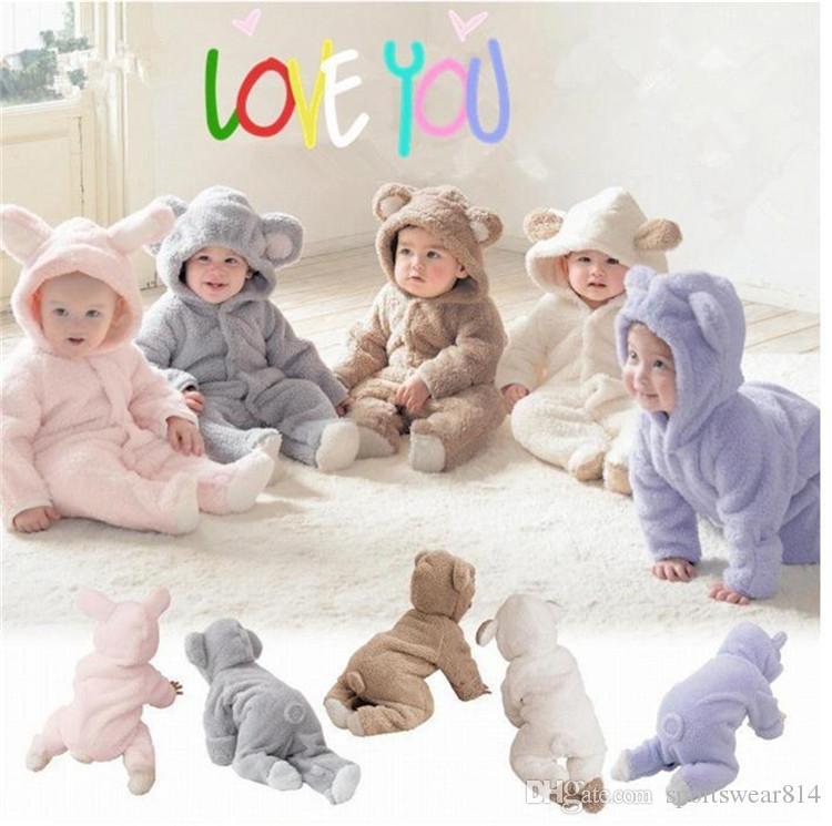 Macacãozinho Lã Bebê do inverno Roupa Bebés Meninas traje Outono recém-nascido roupa do bebê para Crianças Meninos flanela Macacão infantil Pijamas