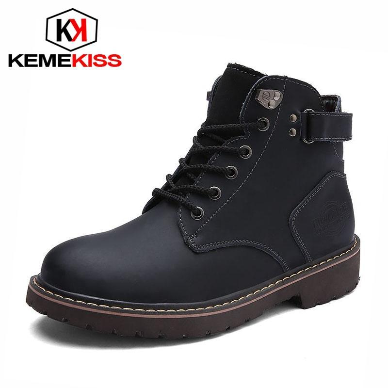 KemeKiss Homens Botas Sólidos Toe Rodada cores Trabalho Botas Decoração de metal High Top Handmade Botas Masculino calçado de tamanho 38-44
