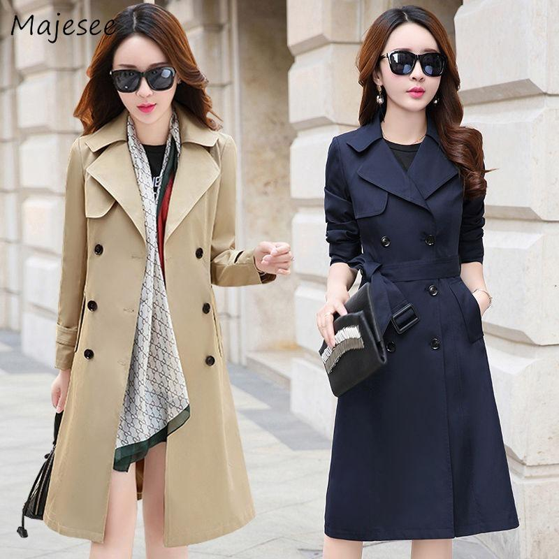 Trench Women Double Breasted Plus Size 3XL Elegant Womens Long Coat All-match Korean Style Fashion Turn-down Collar Work Wear