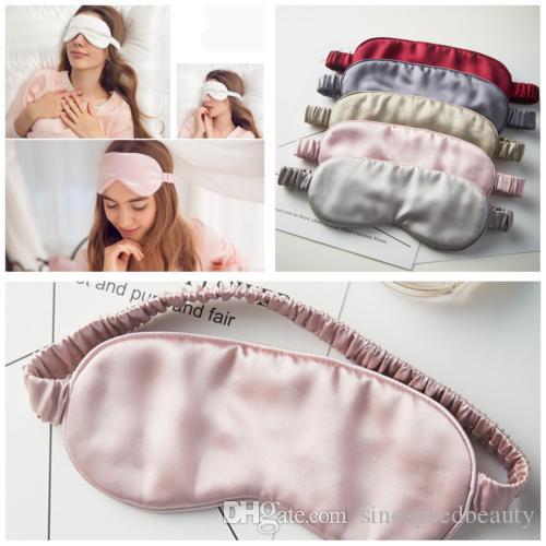 Seda doble lado sombreado Eyeshade Sleeping Eye Mask cubierta Parche Blindfolds visera salud del sueño protector de luz Dropshipping Y1301