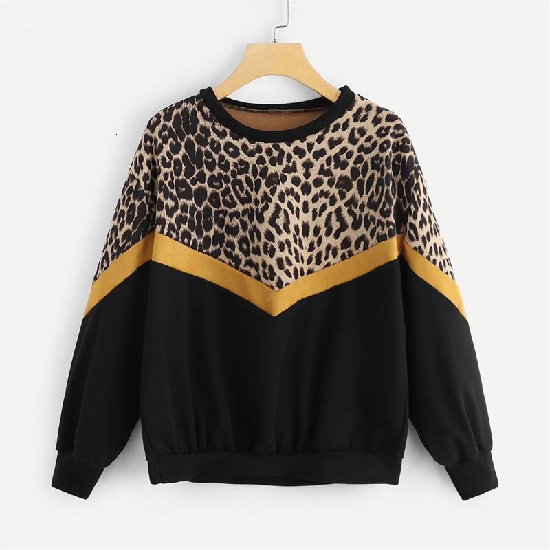 Mujeres camiseta de leopardo suéter Diseñador Panel gota hombro O cuello jersey manera de las tapas de las mujeres ocasional otoño sudaderas envío de la gota