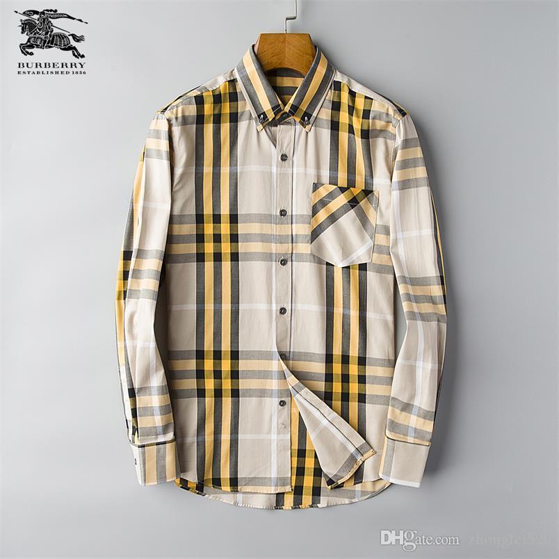 Marka erkek Iş Rahat gömlek erkek uzun kollu çizgili slim fit camisa masculina sosyal erkek T-Shirt yeni moda adam kontrol gömlek # C15