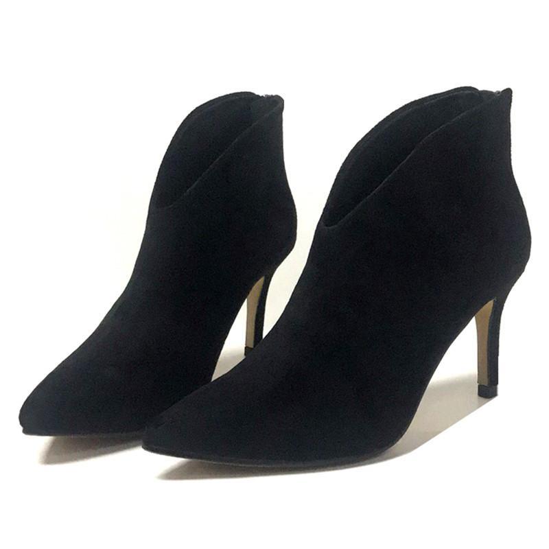 femmes à la mode des talons hauts chaussures printemps automne nouvelle V bouche grande taille à talons bottines pointe noire de haut talon chaussures de dame