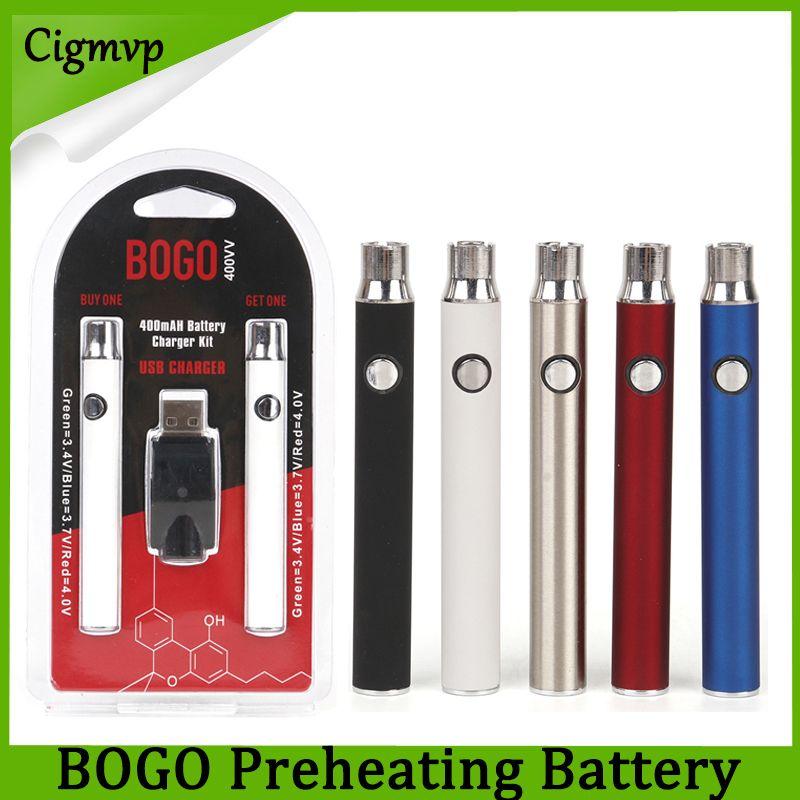 Bogo 더블 배터리 충전기 키트 400mAh 전자 담배 배터리 vape 펜 예열 전압 두꺼운 오일 카트리지에 대 한 전압 조정 가능한 건전지 4 색