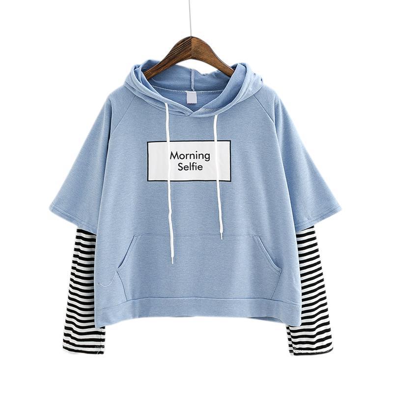 2019 Yeni Sonbahar Kadın Kazak Moda Çizgili Kollu Patchwork Rahat Hoodies Pamuk Bahar BTS Kpop Harajuku EXO Giysileri