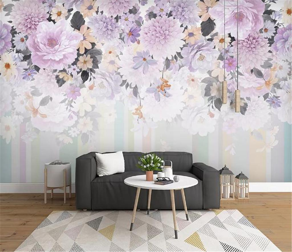 Floral Wallpaper Modern Minimalist Hand Painted Watercolor Flower