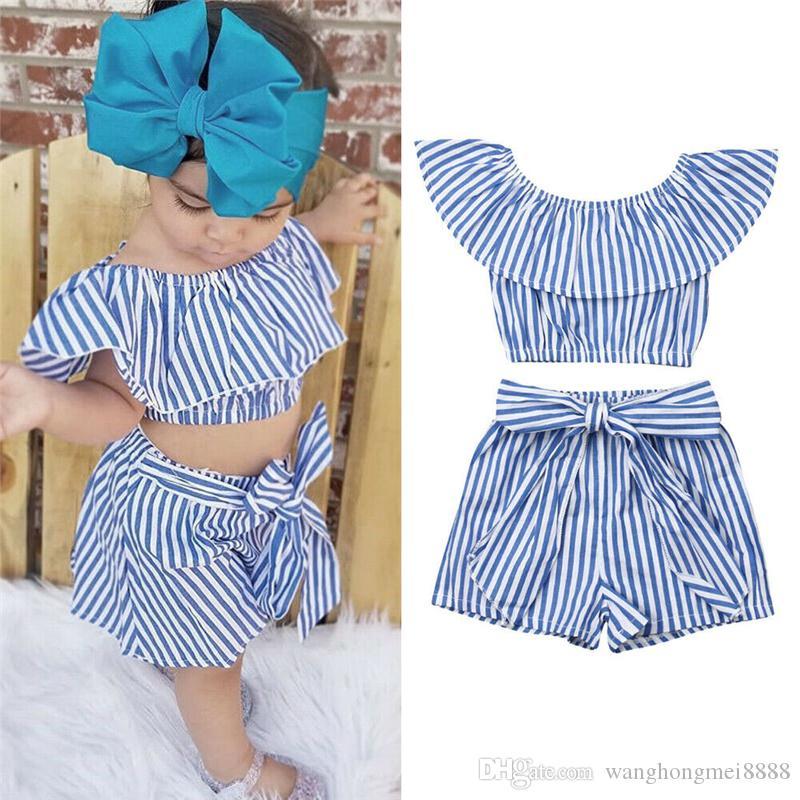 Nagelneu Neugeborenes Baby Mädchen Kinder Kleidung Streifen Kleidung Sets Rüschen Top + Shorts Hosen Sommer Kleidung Outfit 2-6 T