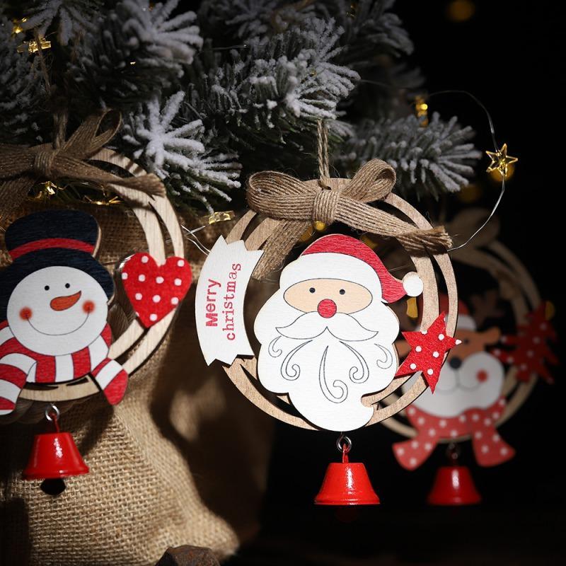En bois De Noël Pendentif Avec Cloche De Noël De Noël Arbre Suspendu Maison Porte Ornements Nouvel An Décor Joyeux