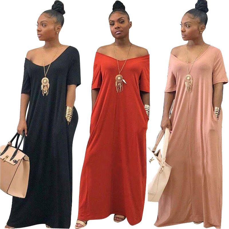 V الرقبة الصلبة اللون قصير كم طويل فضفاض الطابق اللباس عارضة مع جيب فستان جديد الموضة للنساء