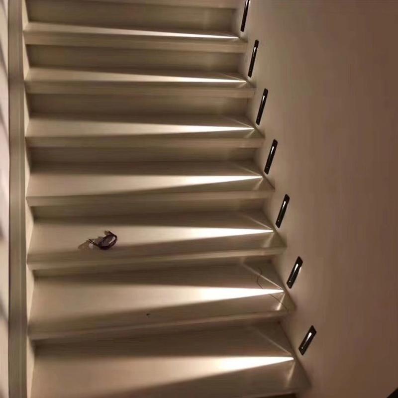 AC85-265V 3W Açık Merdiven Işık ile PIR Hareket Sensörü Duvar lambası Gömme Footlight Koridor Merdiven Basamak Duvar Lambası CRESTECH