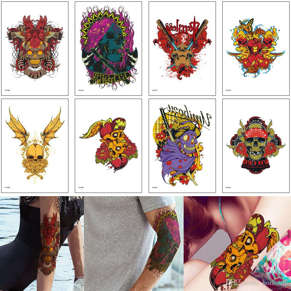 Tattoo Colored Ink Painting Water Transfer Paper Waterproof Temporary Body Art Makeup Decal Skull Designs Sexy Cool Woman Man Tattoo Sticker Tattoos Unique Temp Tatoos From Homimly 0 89 Dhgate Com