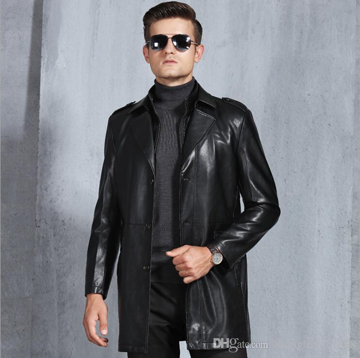 O envio gratuito de Moda Masculina jaquetas de alta-grade de pele de ovelha dupla gola de homens jaqueta de couro masculino Casaco de Negócios Casuais / M-4XL