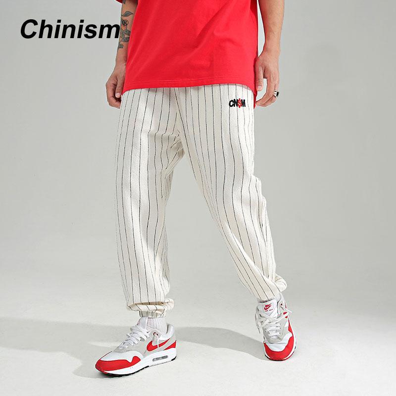 Pantaloni Casual CHINISM Four Seasons nuovi uomini di bande classiche Pants Man di pantaloni Vintage LinenC Mens Harem Nero Bianco