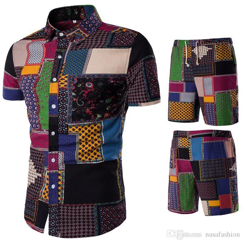 Juegos de Verano de diseño Trajes para hombre de la playa de Mar Holiday Shirts Pantalones cortos de solapa cuello ropa 2pcs chándales florales